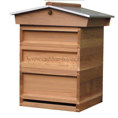 National Bee Hive Gabled Roof c/w 2 Super 1 JUMBO Brood box, Varoa floor