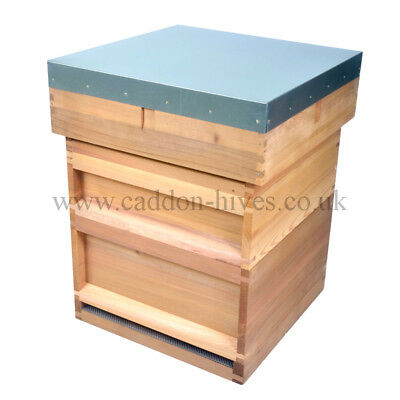 National Bee Hive Flat Roof c/w 2 Super 1 Brood box, Varoa floor, Cedar