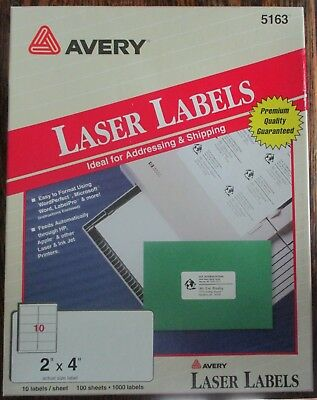 """Avery Laser Labels #5163 White 2"""" x 4"""""""