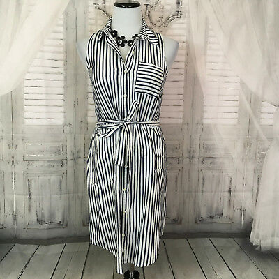 7acf5f4c Old Navy Womans XS Striped Tunic Shirt Dress Blue White Sleeveless Button  Down