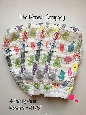 NEW The Honest Company Training Pants 4 Pairs Size 4T/5T Monsters