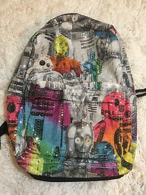 "Star Wars 16"" Sequin Kids Youth Backpack Rainbow School Travel Two Pocket"