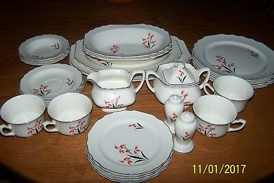 Vintage W.S. George Lido china/dish set - White w/red/black -4 piece plus extras