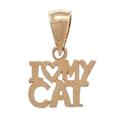 14k Rose Gold Solid I Heart MY CAT I love MY CAT Charm Pendant 0.6g