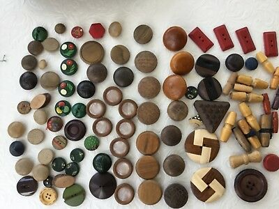 A beautiful collection of 96 vintage & antique wooden buttons job lot
