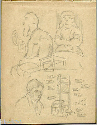 1914 Page #5 from the school album of RUSSIAN ARTIST M.A.Markov Figures and bell