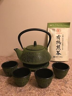 Green Japanese Cast Iron Tea Set + FREE bag of Organic Sencha Tea