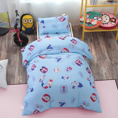 Blue Bear Animal New Baby Boy Crib Cot Set Quilt Cover Padded Cotton Nursery