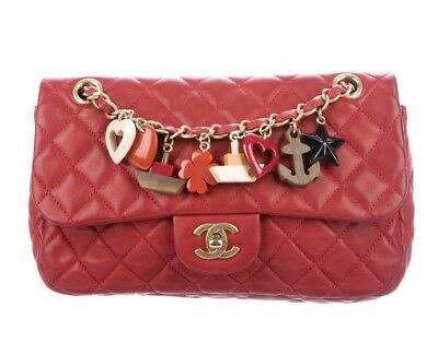 eb32e24476b102 CHANEL MEDIUM MARINE Charms Single Flap Bag Red Leather Authentic 100%  lambskin - $2,249.25 | PicClick