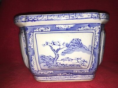 Asian  Blue and White  Planter 9 1/2""