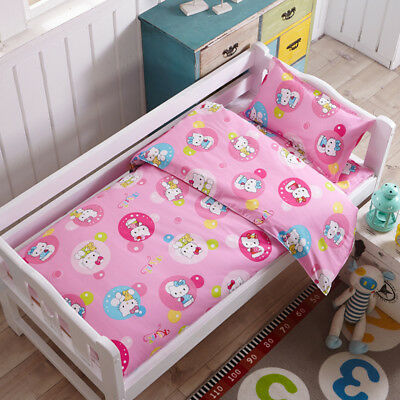 Pink Hello Kitty New Baby Bedding Crib Cot Set Quilt Cover Padded Cotton Nursery