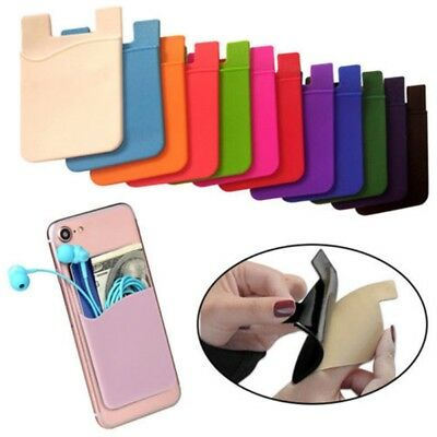 2pcs Silicone Wallet Sleeve Adhesive Credit Card/id Holder for Universal Phone