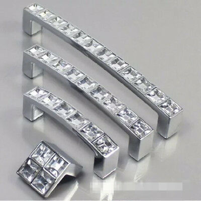 Diamond Crystal Glass Door Knob Drawer Kitchen Cupboard Cabinet Furniture-Handle