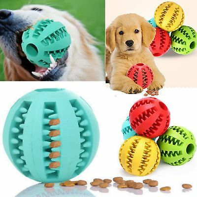 Pet Dog Rubber Ball Treat Dispensing Holder Puppy Cat Chew Toy Training Dental