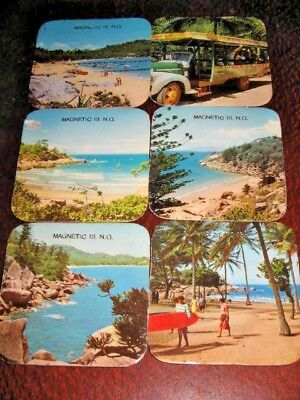 6 Magnetic Island NQ Drink Coasters Circa 1970's Wipe Clean Surface Cork Backing