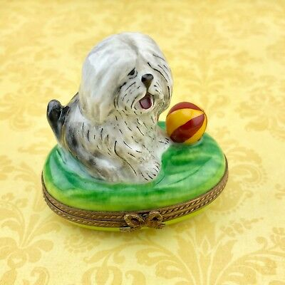 Limoges Porcelain Sheepdog Dog Trinket Box Made in France