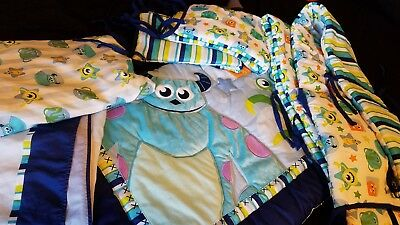 Disney Baby Monsters Inc Crib 4 Piece Set Reversible Sided Comforter Blanket