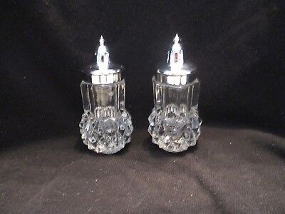 Diamond Cut Clear Glass/Crystal w/ Plastic Silver Lids Salt and Pepper Shakers