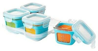 OXO Tot Glass Baby Blocks Food Storage Containers with Silicone Sleeves Aqua 4