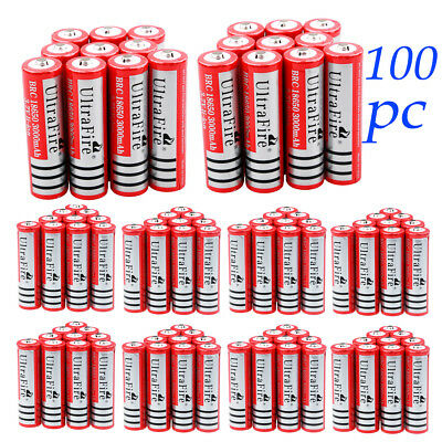 Lot 3000mAh 18650 Li-ion Rechargeable Battery UltraFire For LED Torch Flashlight