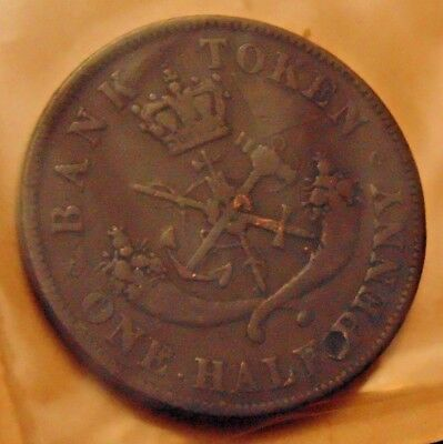 1852 - 166 Year Old - Dragon Slayer Bank of Upper Canada 1/2 Half Penny Token #a