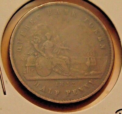 1852 - 166 Year Old - Province of Canada Quebec 1/2 Half Penny Bank Token   #a