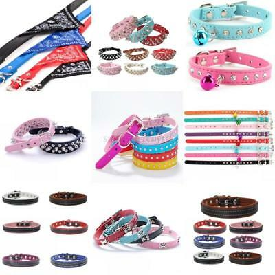 Lots Pet Dog Cat Puppy PU Leather Bling Rhinestone Safety Neck Collar Strap USA