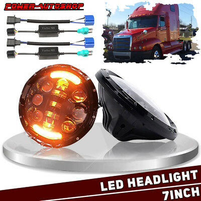 """Freightliner Century Headlights 7"""" LED Projector w/Amber Signal Pre 2005 Model"""