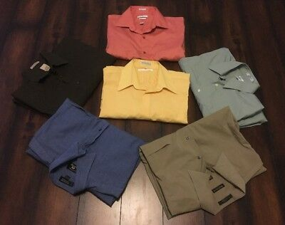 Instant Work Wardrobe! Huge Lot of 6 Men's L/S Dress Casual Shirts 16-16.5 34/35
