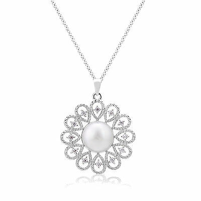 Rhodium Plated Necklace Flower Shape Pearl Cubic Zirconia Pendant Chain Necklace