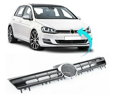 Vw Golf Mk7 2013- 2017 Front Bumper Main Grille Black With Chrome Moulding New