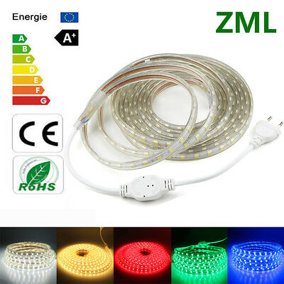 1M-20M 5050 LED Strip 220V SMD 60leds/m Flexible tape rope Light Waterproof IP67