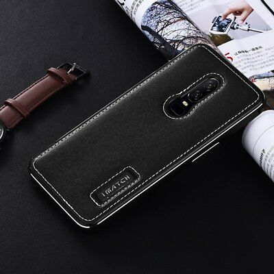 Luxury Metal Aluminium Shockproof Frame Genuine Leather Case Cover For OnePlus 6