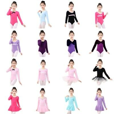 Girls Kid Ballet Leotards Dancewear Children Long Sleeve Dance Dress Gym Leotard