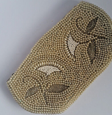 ANTIQUE Vintage Beaded Purse Pearl Beaded Small faux pearl zipper pre 1950s