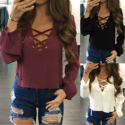 Fashion Women Blouse Summer V Neck  Ladies Long Sleeve LooseCasual Shirt Tops