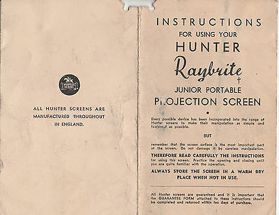 Instructions For Hunter Raybrite Junior Portable Projection Screen - Rare Copy