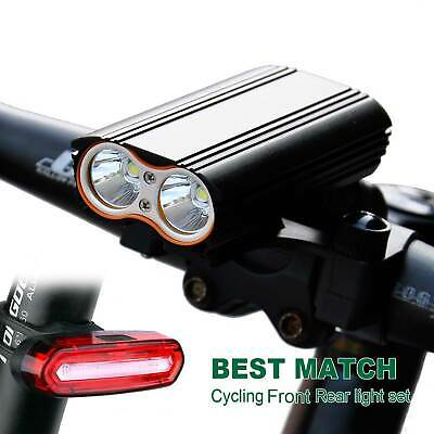USB Rechargeable Mountain Bike Bicycle Cycling LED Front Rear Tail Light Set AU