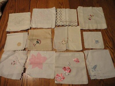 Lot of 12 Plain,Floral, Cotton, Florida, Embroidered hankies