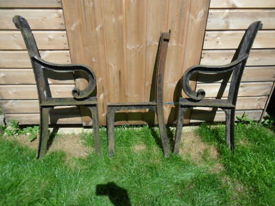 set of 3 antique cast iron bench ends seat base iron long bench legs to restore
