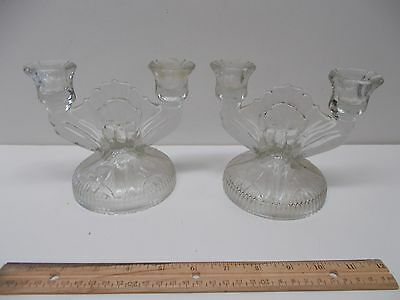 Vintage Pair Of Clear Pressed Glass Double Candle Holders