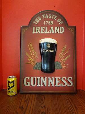 "Guiness ""The Taste of Ireland 1759"" Wood Advertising Sign Man Cave ~FAST S/H~"