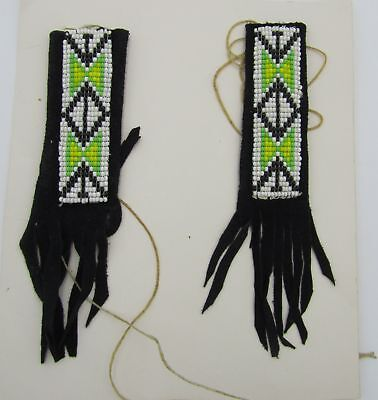 Black Leather Hair Braid Wraps Multicolored Seed Beadwork by Choctaw Vintage NOS