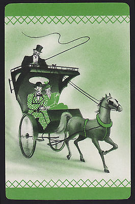 1 Single VINTAGE Swap//Playing Card HORSE /& BUGGY /'HIGH STEPPER HC-8-6/' BLACK
