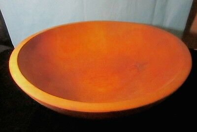 "Vintage Wooden Bowl 13x4"" Turned Wood  Out of Round Partial Makers Mark"