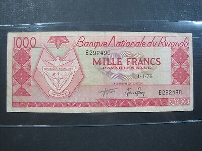 RWANDA 1000 FRANCS 1976 P10c SCARCE #Z AFRICA MILLE BANKNOTE PAPER MONEY