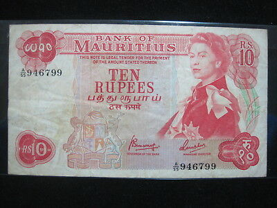 MAURITIUS 10 RUPEES 1967 P31c BRITISH QEII 94# WORLD CURRENCY BANKNOTE MONEY