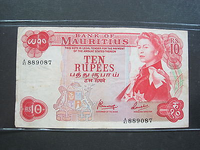 MAURITIUS 10 RUPEES 1967 P31c #T SHARP BRITISH QEII WORLD BANKNOTE PAPER MONEY