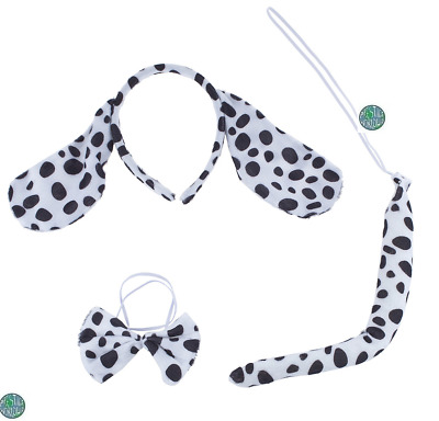 Kids Dalmatian Dog Puppy Cruella Fancy Dress Costume Set Kit 3pc Tail Bow Ears