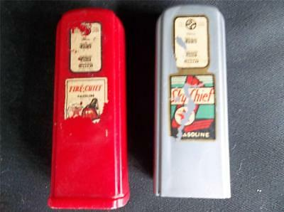Pair Vintage Celluloid TEXACO Fire Chief Sky Chief Salt & Pepper Shakers